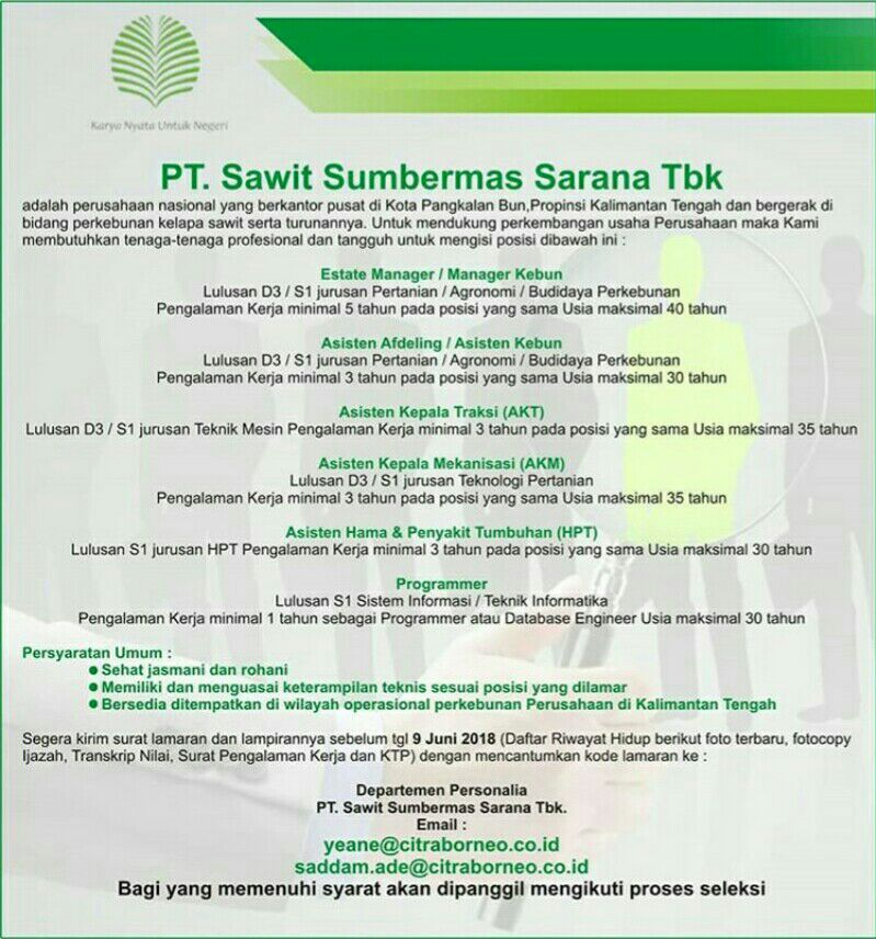 Lowongan Kerja Pt Sawit Sumbermas Sarana Tbk Fakultas Pertanian