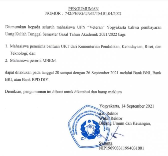 image Pembayaran UKT: Bagi mhs Penerima Bantuan Kemendikbudristek dan mhs MBKM